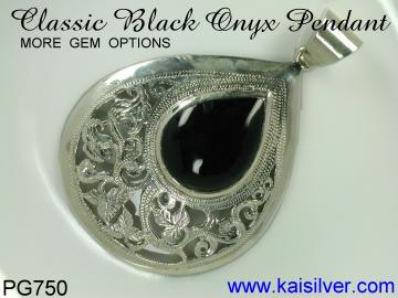 custom black onyx pendant