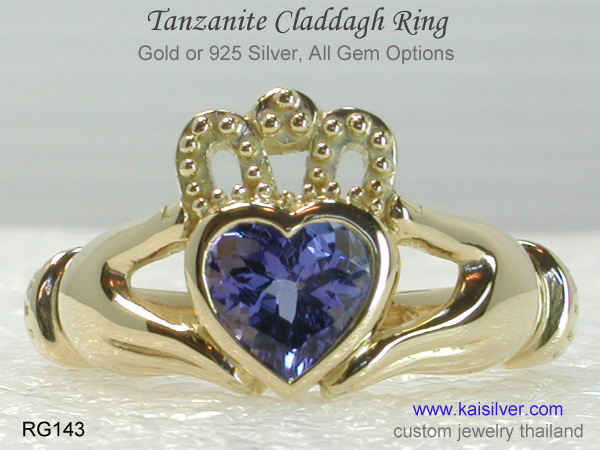 claddagh ring with gemstone tanzanite