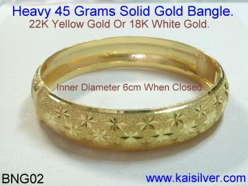 heavy gold or 925 sterling silver bangle