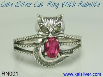 cat ring with gemstone silver gold