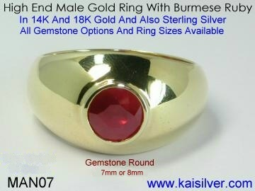 mens ruby ring gold or silver