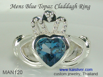 white gold claddagh rings for men