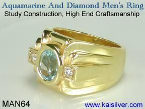 mens aquamarine rings, gold or silver aquamarine ring for men