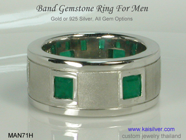 band ring for men emerald