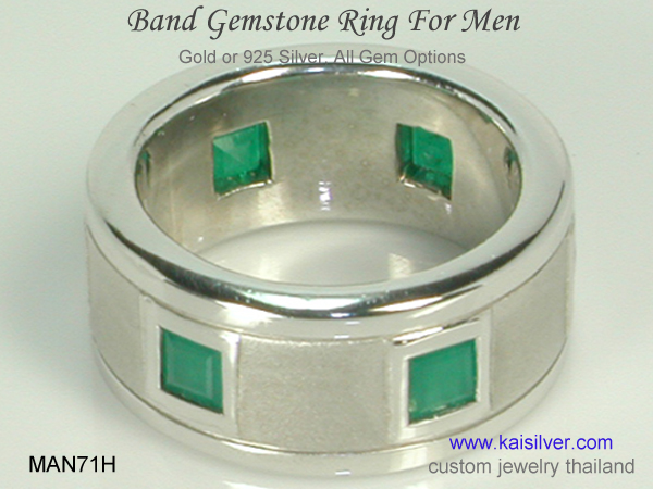 emerald ring for men gold and silver