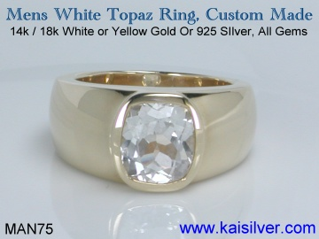 mens white topaz gemstone ring