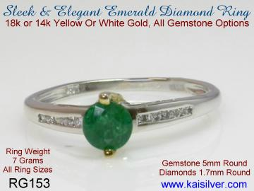 small emerald gold ring