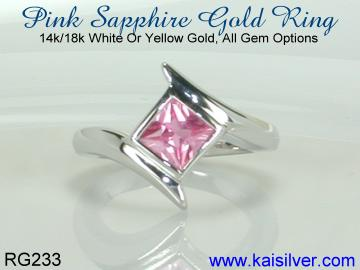 small pink sapphire ring