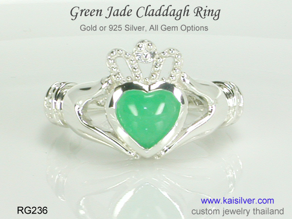 jade gemstone claddagh ring