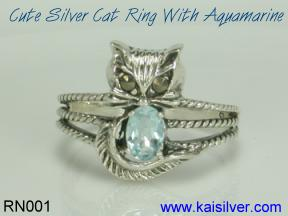 sterling silver aquamarine ring, cat ring with aquamarine