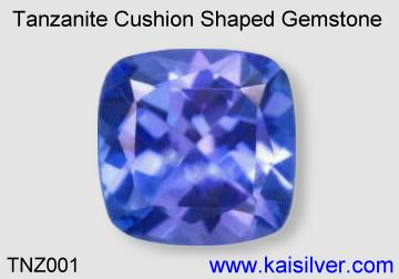 cushion shaped loose tanzanite gemstone